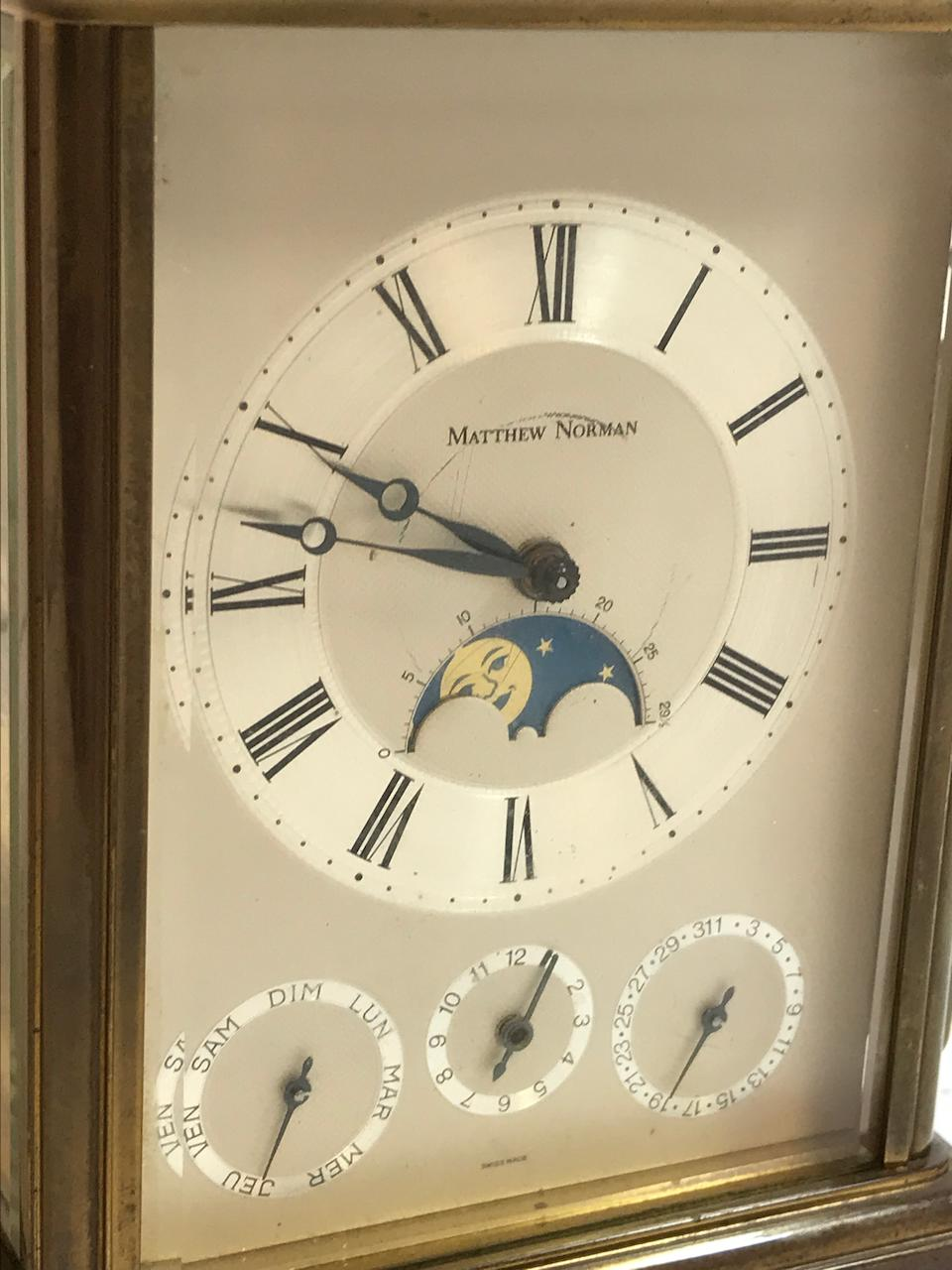 A Swiss brass hour repeating carriage clock with calendar, moon phase and alarmSigned Mathew Norman Recent