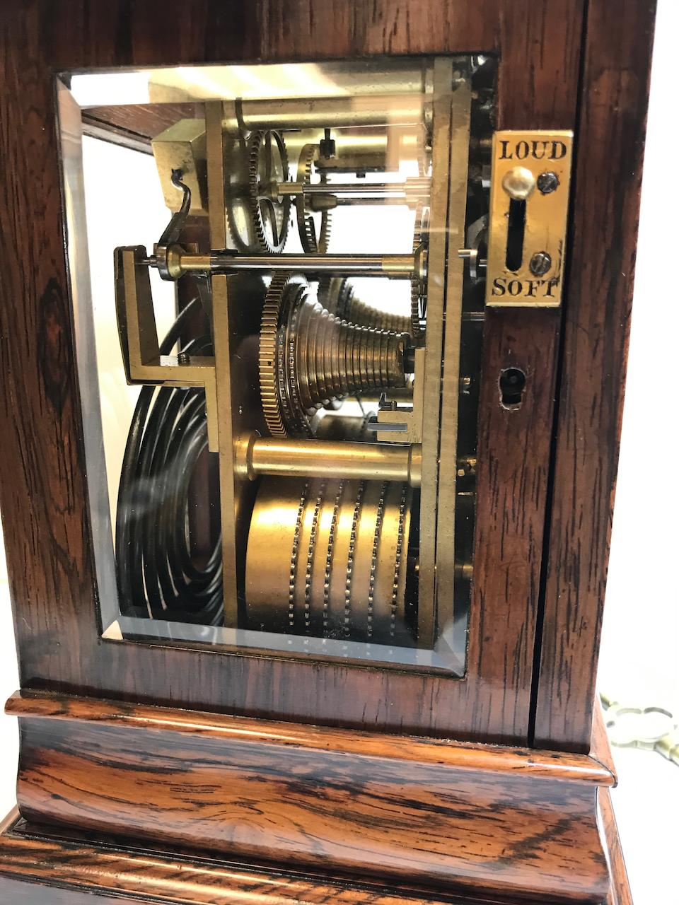 A good rosewood four glass traveling clock with soft / loud striking optionSigned, Viner, 235 Regent St., London Mid 19th century
