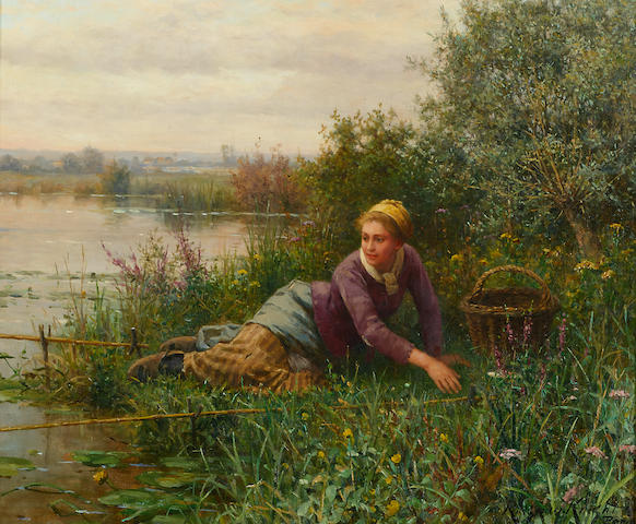 Daniel Ridgway Knight (American, 1839-1924) Fishing 18 1/2 x 22 1/4in (47 x 56.5cm)