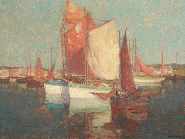 Edgar Payne (1883-1947) French Fishing Boats Off the Coast 34 1/4 X 44 1/4in