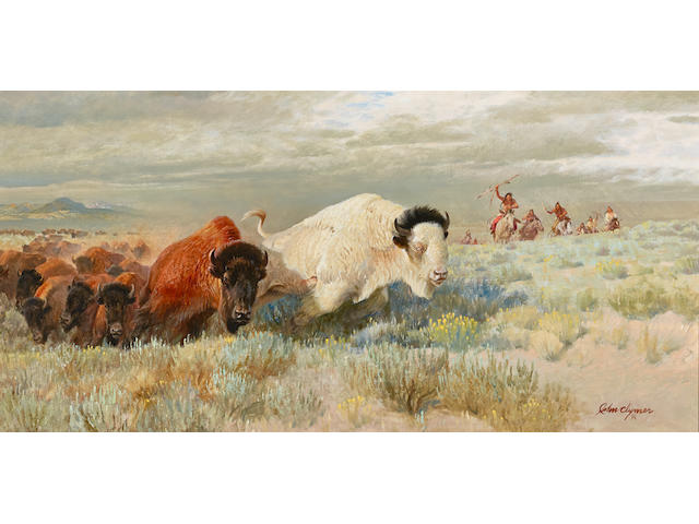 John Ford Clymer (1907-1989) The White Buffalo 20 x 40in (Painted in 1972.)