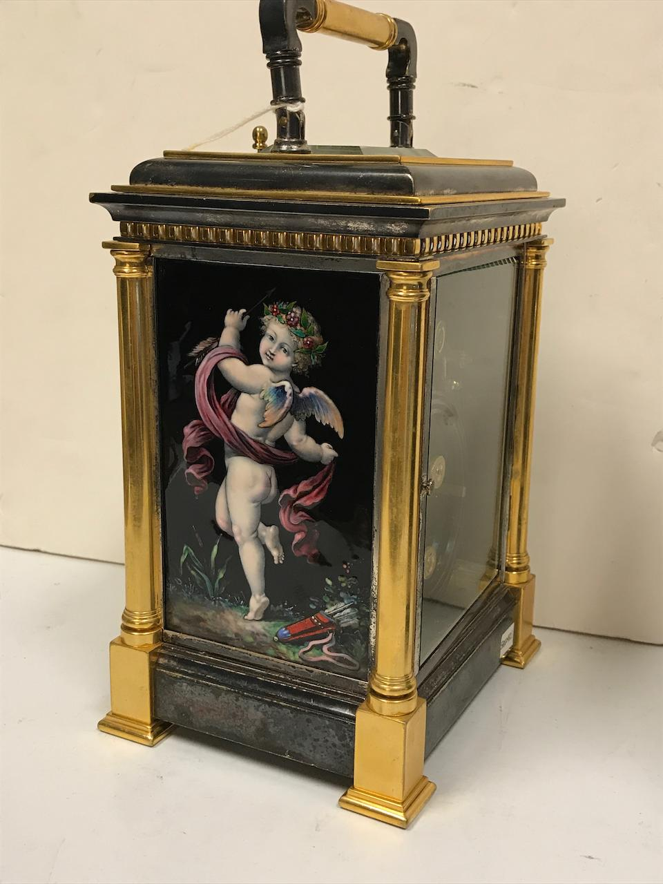 A very fine gilt and silvered grande sonnerie striking and quarter repeating Limoges enamel paneled giant carriage clock with alarmLast quarter 19th century