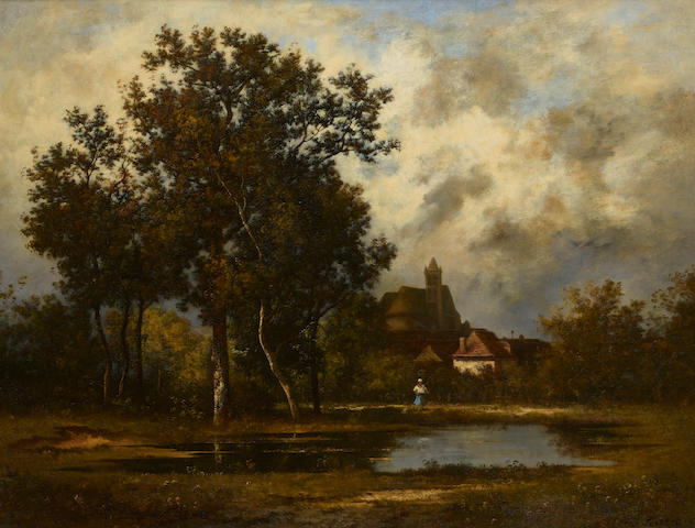 Léon Richet (French, 1847-1907) At the pond 19 1/4 x 25 1/8in (48.9 x 63.8cm)
