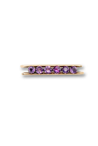 An amethyst and gold bar pinRussia, c. 1900; with partial gold standard mark and maker's mark on pin