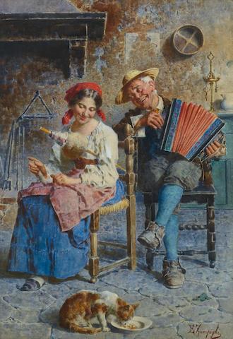 Eugenio Zampighi (Italian, 1859-1944) Serenading the village cat 21 x 15in (53.3 x 38.1cm)
