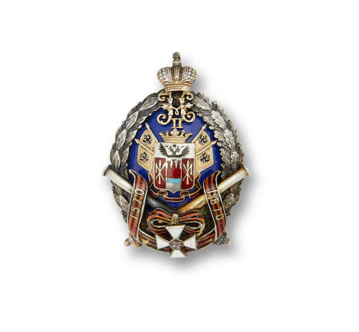 A parcel silver and enamel badge of the Don Cossack Army Mounted Artillery regimentEduard Firm, St. Petersburg, 1908-1917, workmaster's mark 'VA'