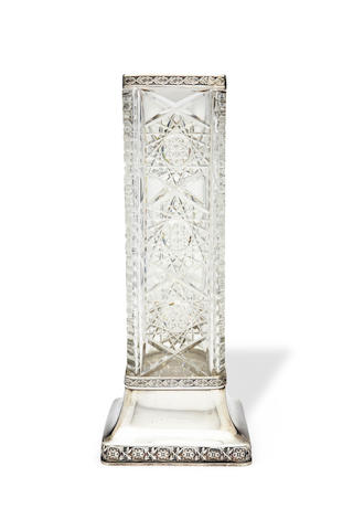 A silver-mounted cut-glass vase Egor Cheriatov, Moscow, 1908-1917, probably for Lorie Firm