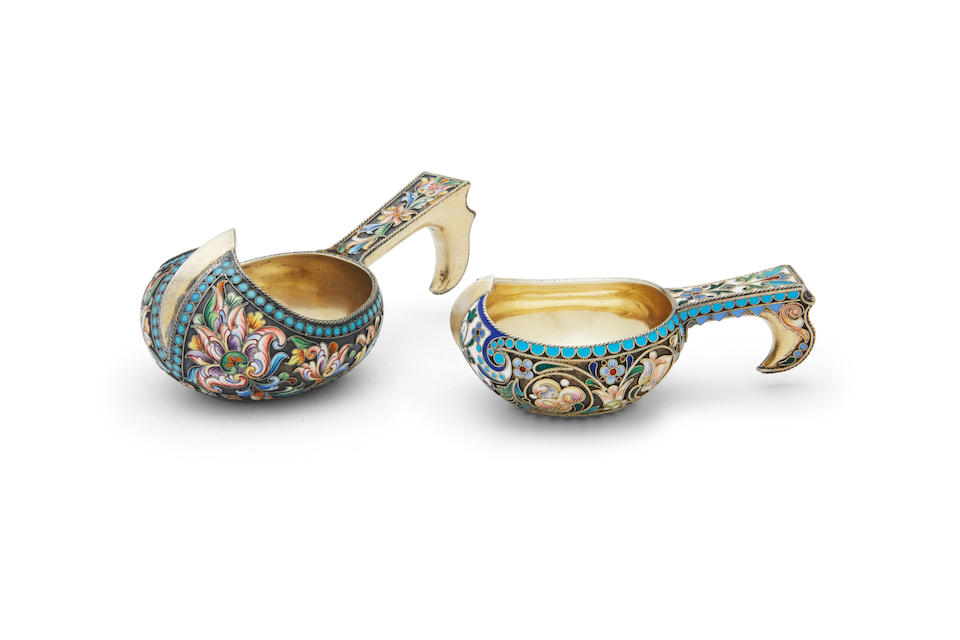 Two small silver-gilt and enamel kovshsfirst: Petr Fariseev, Moscow, 1908-1917; second: Pavel Ovchinnikov, Imperial Warrant, Moscow, 1898-1908