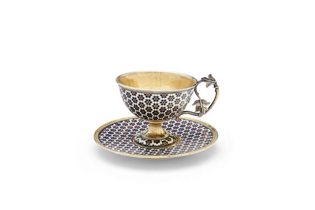A silver-gilt and enamel cup and saucer Gustav Klingert, Moscow, 1889-1890