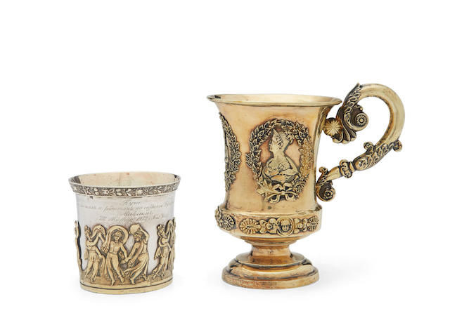 A silver-gilt commemorative cup with partial maker's mark, Moscow, 1836