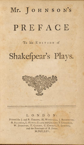 JOHNSON, SAMUEL. 1709-1784. Mr. Johnson's Preface to his Edition of Shakespear's Plays. London: J. and R. Tonson, 1765.