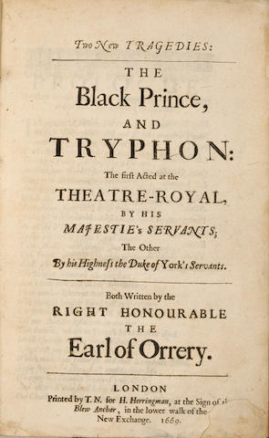 RESTORATION DRAMA and POETRY. Roger Boyle, Earl of Orrery. Two New Tragedies: The Black Prince, and Tryphon. [AND] The History of Henry the Fifth. and the Tragedy of Mustapha. London: H. Herringman, 1669-1668.