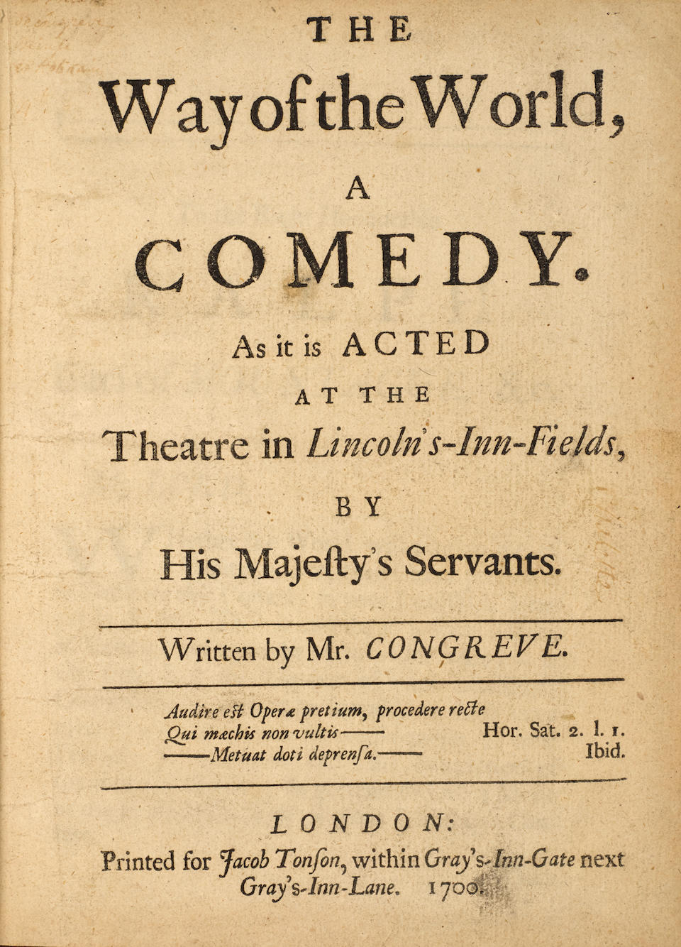 RESTORATION DRAMA. 5 titles: 1. CONGREVE, WILLIAM. 1670-1729. The Way of the World. A Comedy. London: Jacob Tonson, 1700.