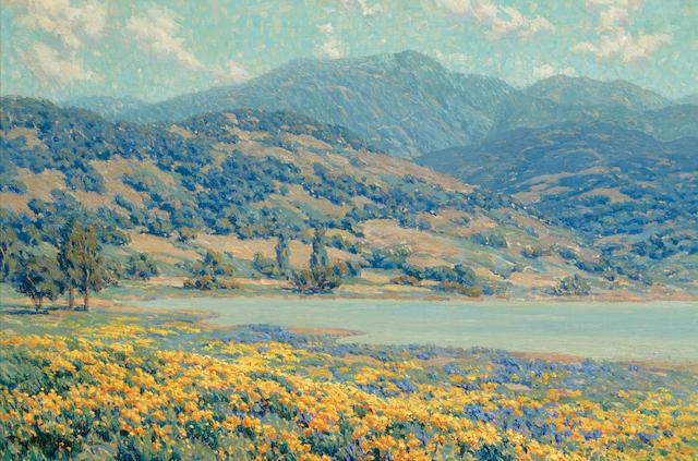 Granville Redmond (1871-1935) Lakeside Wildflowers 20 x 30in