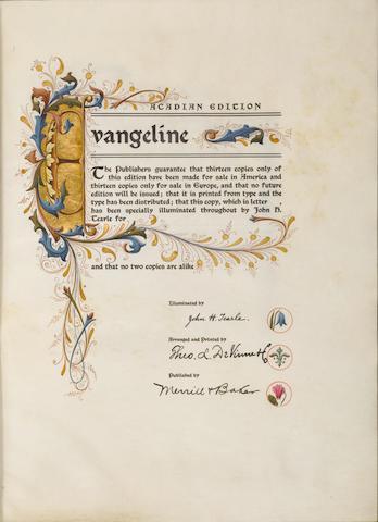 LONGFELLOW, HENRY WADSWORTH. 1807-1882. Evangeline ... illuminated by John H Tearle. New York: Merrill & Baker, 1903.