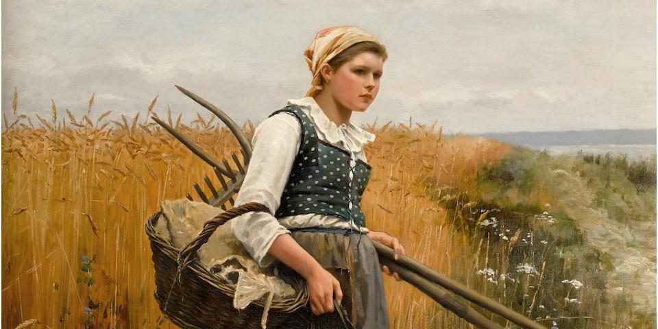 Daniel Ridgway Knight (American, 1839-1924) Girl in harvest field 46 x 35 1/2in (116.8 x 90.2cm)