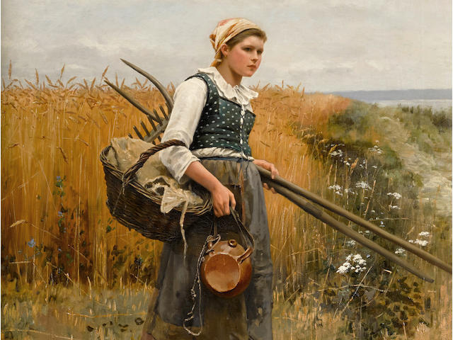 Daniel Ridgway Knight (American, 1839-1924) Girl in harvest field 46 x 35 1/2in (116.8 x 90.2cm)