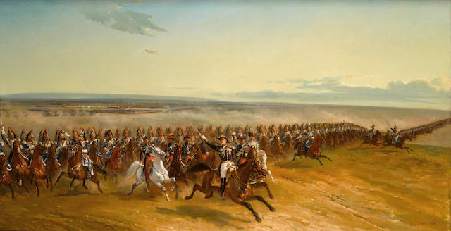 Louis Eugène Ginain (1818-1886) Maneuvers of the French army at Camp de Châlons 39 x 74 1/2in (99 x 189.2cm)