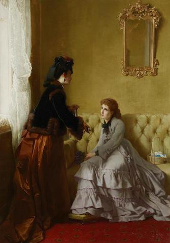 Frans Verhas (Belgian, 1827-1897) The unexpected gift 33 7/8 x 23 1/4in (86 x 59.1cm)