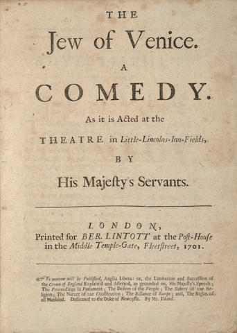 SHAKESPEARE, WILLIAM. 1564-1616. GRANVILLE, GEORGE. 1666-1735. Editor. The Jew of Venice. A Comedy. London: Printed for Ber[nard] Lintott, 1701.