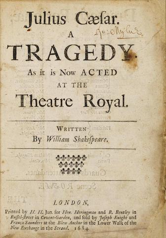 SHAKESPEARE, WILLIAM. 1564-1616. Julius Caesar. A Tragedy. London: Hen[ry] Heringman and R. Bentley, 1684.