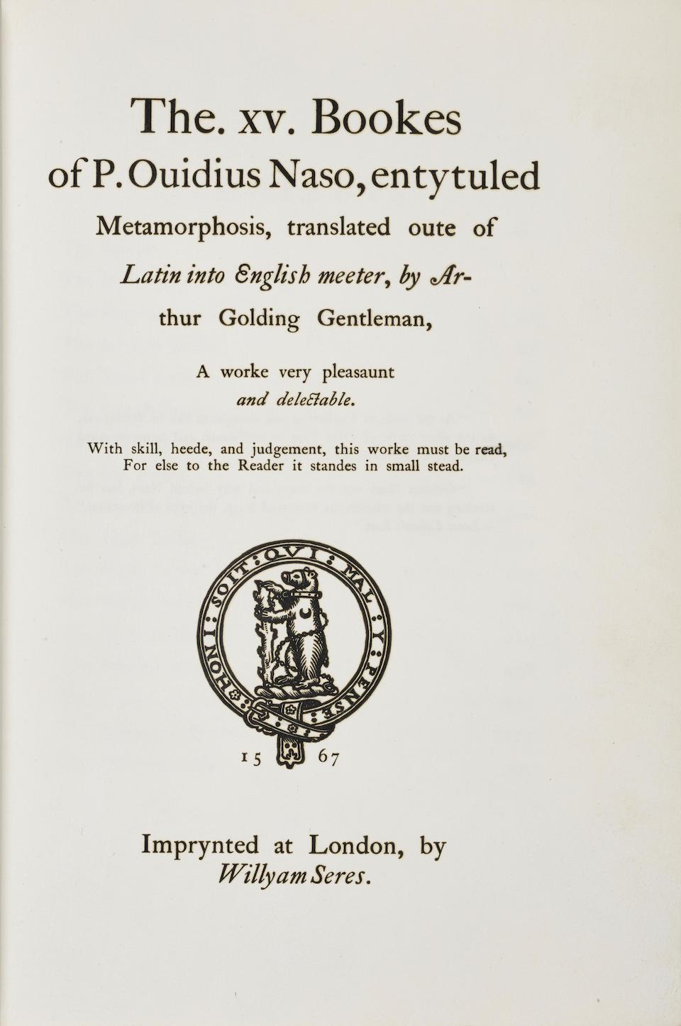 DE LA MORE PRESS. OVID. 43 B.C.E-C.17 C.E. Shakespeare's Ovid Being Arthur Golding's Translation of the Metamorphoses. London: Alexander Moring Ltd./De la More Press, 1904.