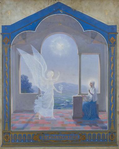 Fedor Ivanovich Zakharov (Russian, 1882-1968) 'The Annunciation' 76 x 61.8cm (29 7/8 x 24 3/8in). unframed