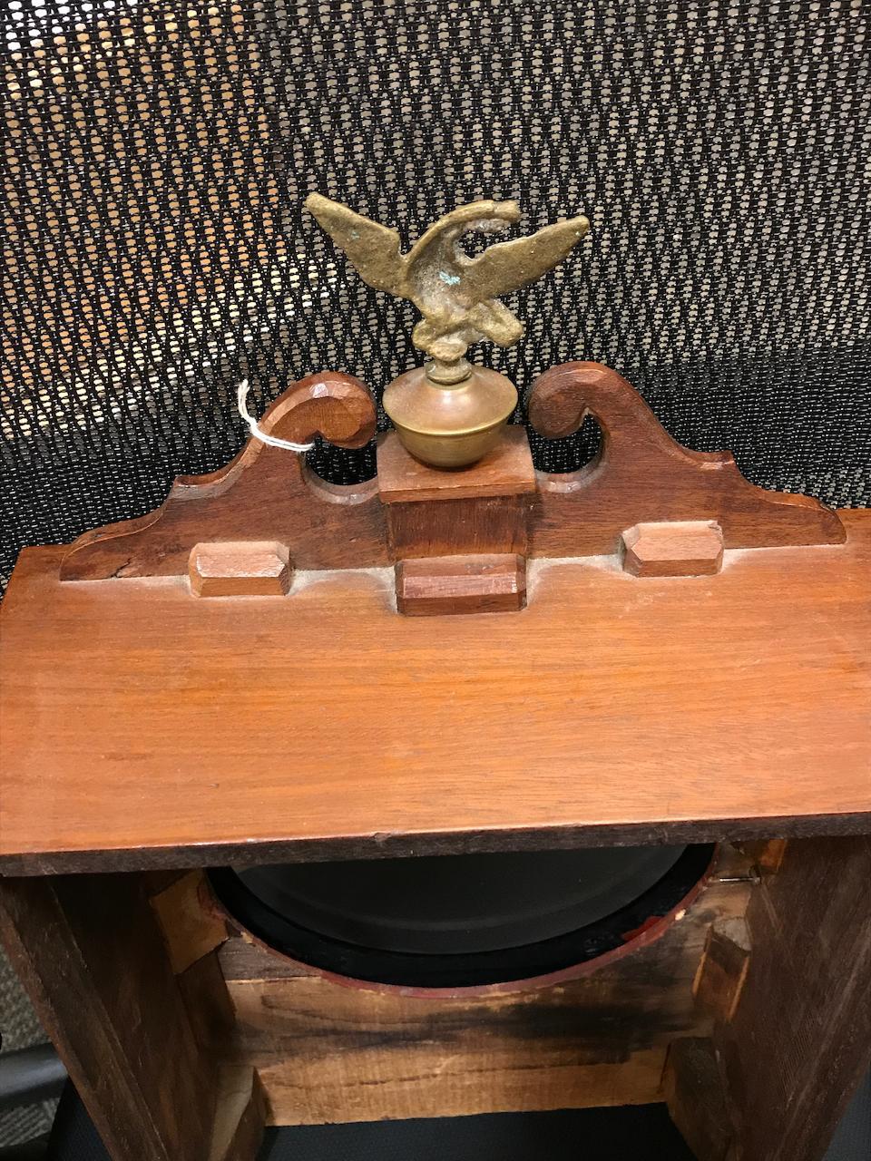 An eglomisé paneled mahogany dish dial shelf clock Aaron Willard, Boston, circa 1825