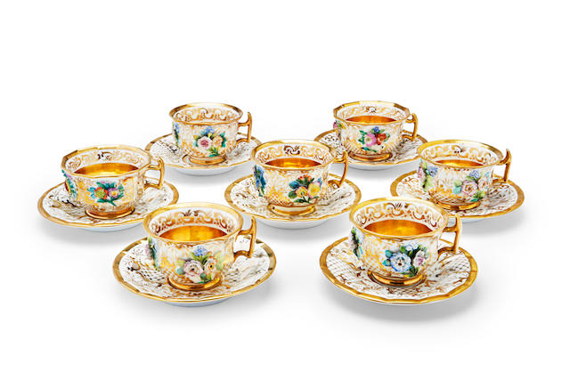A group of seven porcelain teacups and saucers Imperial Porcelain Factory, St. Petersburg, period of Nicholas I