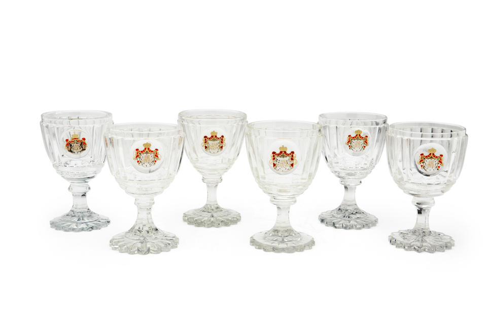 A set of six water goblets from the Imperial Banquet serviceImperial Glass Factory, St. Petersburg, 1850s