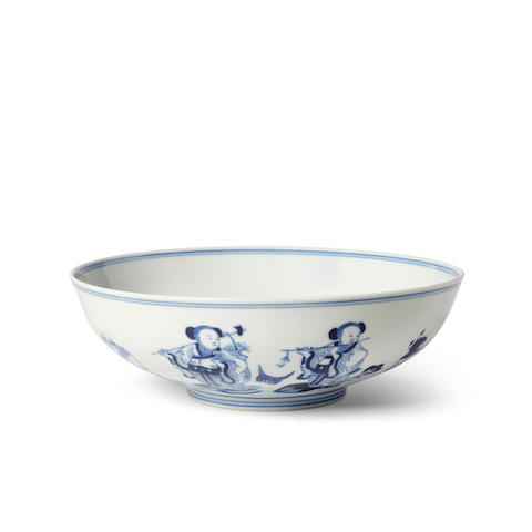 A blue and white 'Eight Immortals' bowl Guangxu six-character mark and of the period
