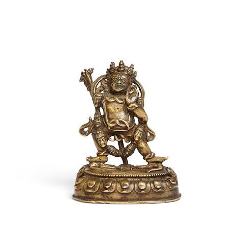 A gilt bronze figure of Vajrapani Circa 14th century