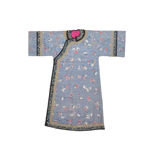 A Woman's embroidered silk informal robe Late Qing dynasty