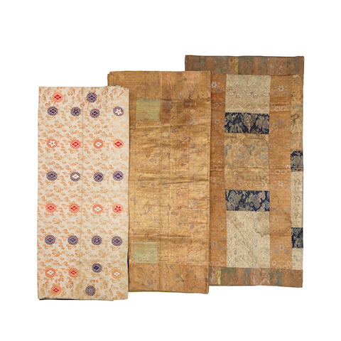 Three woven silk Buddhist priest's robes, kesa 18th century and later (3)