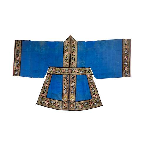 A blue silk Daoist robe, Daopao Late Qing/Republic period