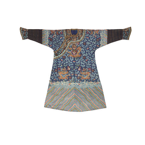 A blue ground embroidered court robe 18th/19th century