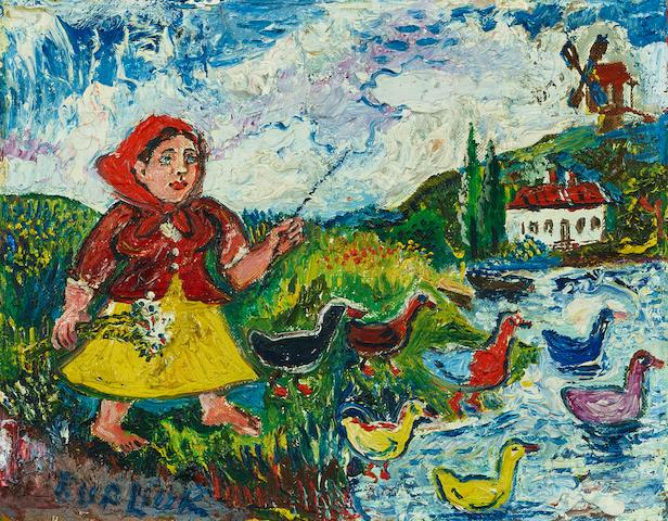 David Burliuk (Russian/American, 1882-1967) Guiding ducks 20 x 25.8cm (7 7/8 x 10 1/8in).