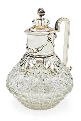 A silver-mounted cut-glass claret jugFabergé, Moscow, 1899-1908