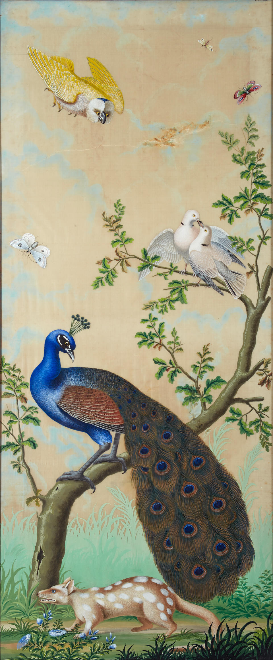 Carlo Antonio Raineri (Italian, 1765-1826) Exotic birds, insects and other animals (a set of three) each 50 1/2 x 21in (128.3 x 53.4cm) (sight)