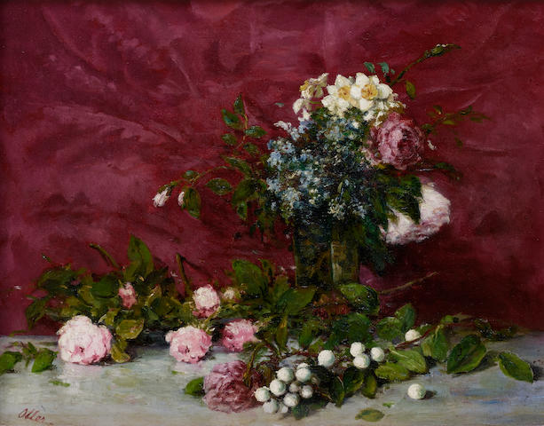 Francisco Manuel Oller y Cesteros (1833-1917) A still life with peonies 14 7/8 x 18 1/2in (37.8 x 47cm)