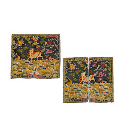 A pair of embroidered silk military official's rank badges, buzi Late Qing/Republic period (2)