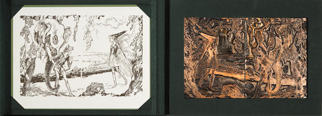 NEILL, JOHN REA. 1877-1943. Two original metal printing plates and one fine proof of double-page illustration,