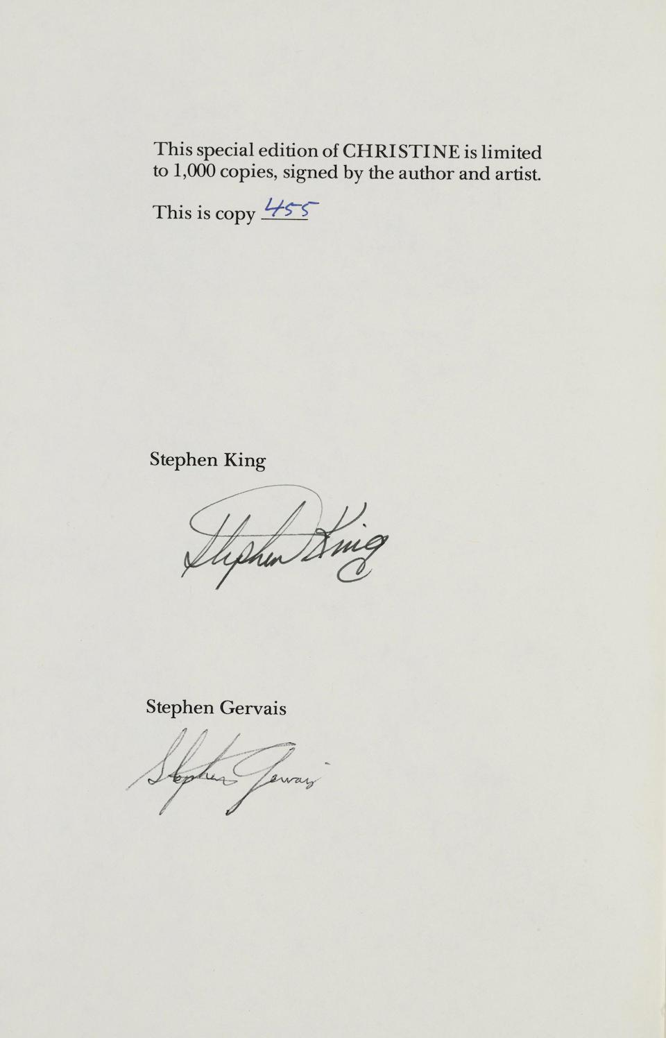 KING, STEPHEN. B.1947. GERVAIS, STEPHEN. ILLUSTRATOR. Christine.  West Kingston: Donald M. Grant , (1983).