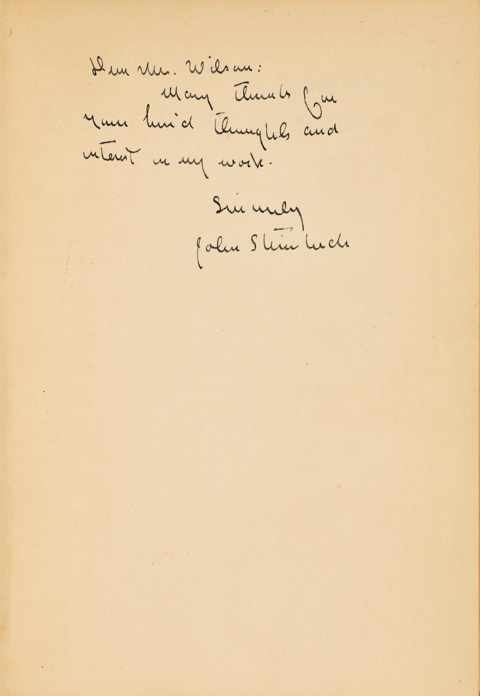 STEINBECK, JOHN. 1902-1968. Bombs Away: The Story of a Bomber Team. New York: The Viking Press, 1942.