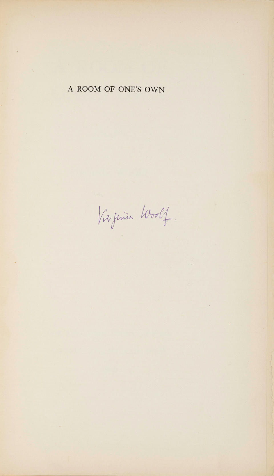 WOOLF, VIRGINIA. 1882-1941. A Room of One's Own. New York, The Fountain Press; London, The Hogarth Press, 1929.