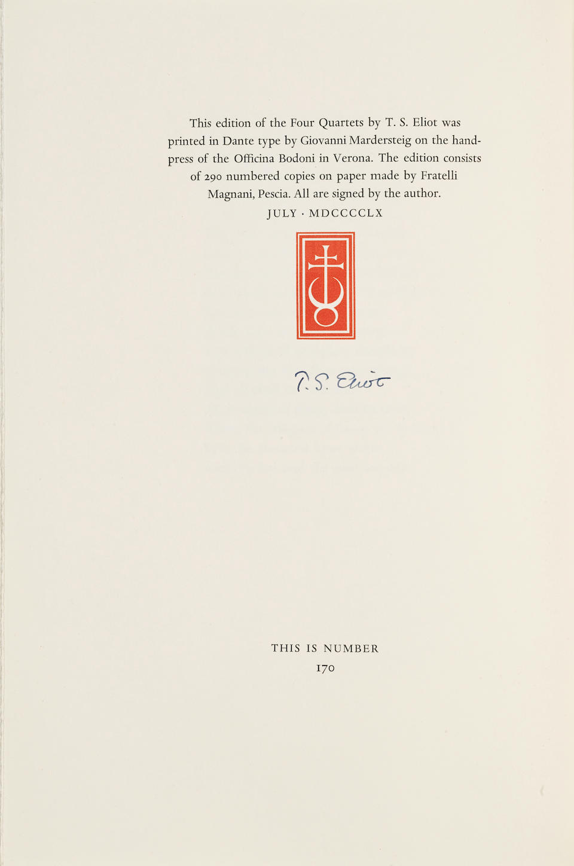ELIOT, THOMAS STEARNS. 1888-1965. Four Quartets.  London: Faber and Faber, 1960.
