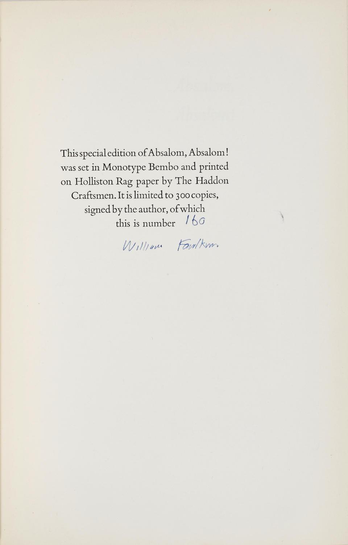 FAULKNER, WILLIAM. 1897-1962. Absalom! Absalom! New York: Random House, 1936.