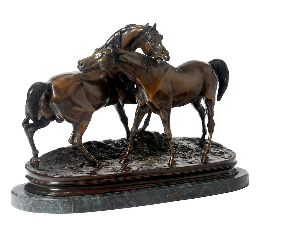 Pierre Jules Mène (French, 1810-1879) Accolade (Tachiani and Nedjébé, chevaux arabes) Height: 16 1/4in (41cm); Width: 27in (68.5cm); mounted on a 1 1/2in (4cm) green marble base