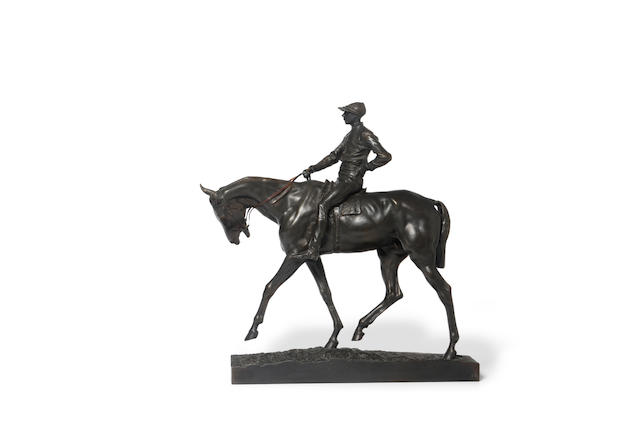 Emmanuel Frémiet (French, 1824-1910) A racehorse and jockey Height: 17 3/4in (45.2cm); Width: 16in (40.7cm)