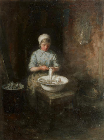 Robert Gemmell Hutchison RSA RBA ROI RSW (British, 1855-1936) The young fisher girl 24 1/4 x 18 1/4in (61.6 x 46.4cm)